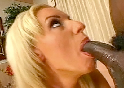 Busty Blonde's Interracial Mouth Fuck