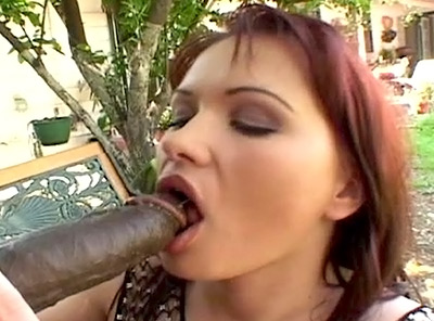 Hot Brunette Giving Off an Outdoor Interracial Blowjob